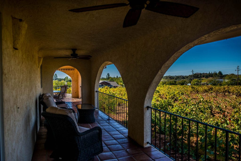 outside deck with chairs at vineyard house in Amador County - Jeff Runquist Wines